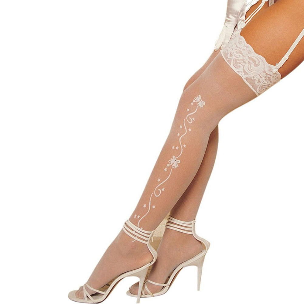 Wedding Bell Sheer Stockings White - View #1