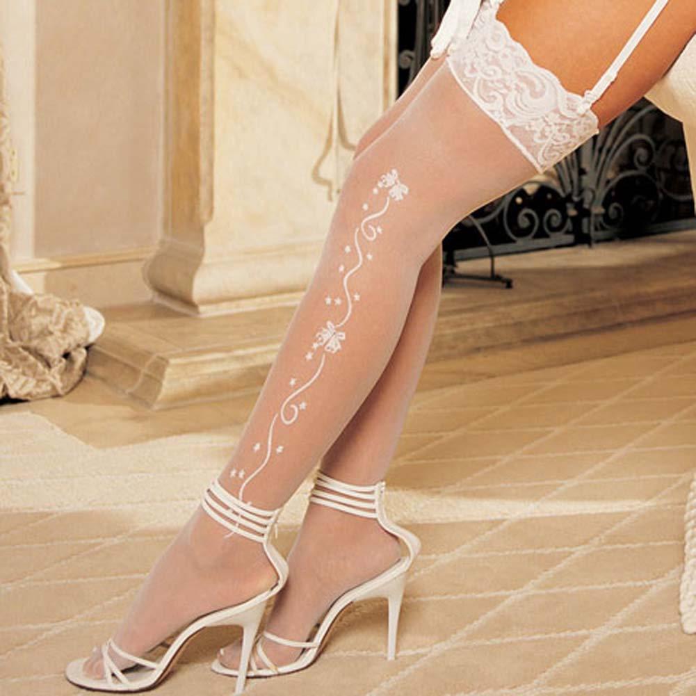 Wedding Bell Sheer Stockings White - View #3