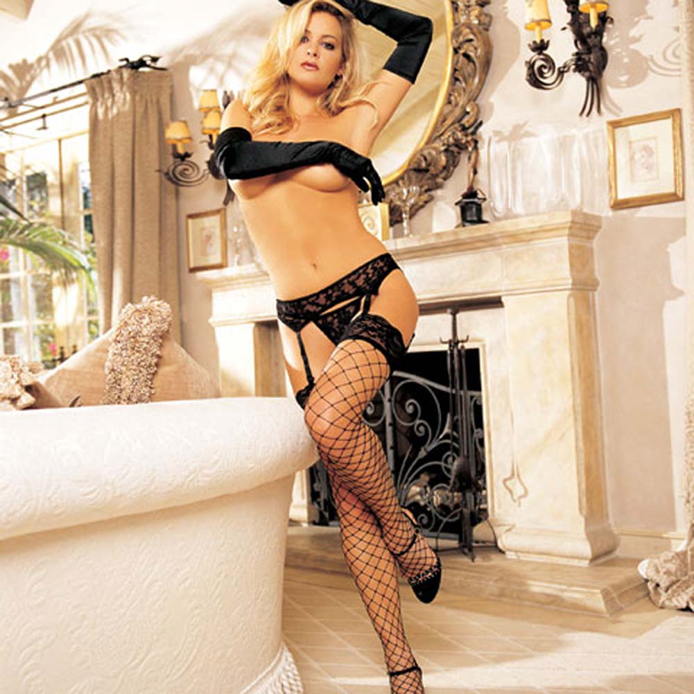 Wide Top Lace Large Net Stockings Black - View #3