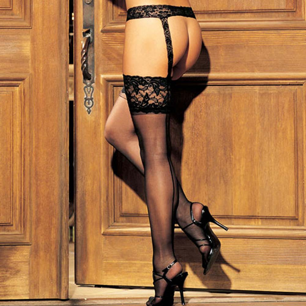 Lace Garter Belt and Wide Lace Top Stockings Set Black - View #1