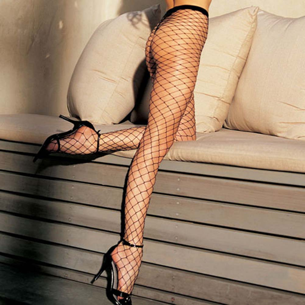 Stretch Big Hole Fishnet Pantyhose Black - View #1