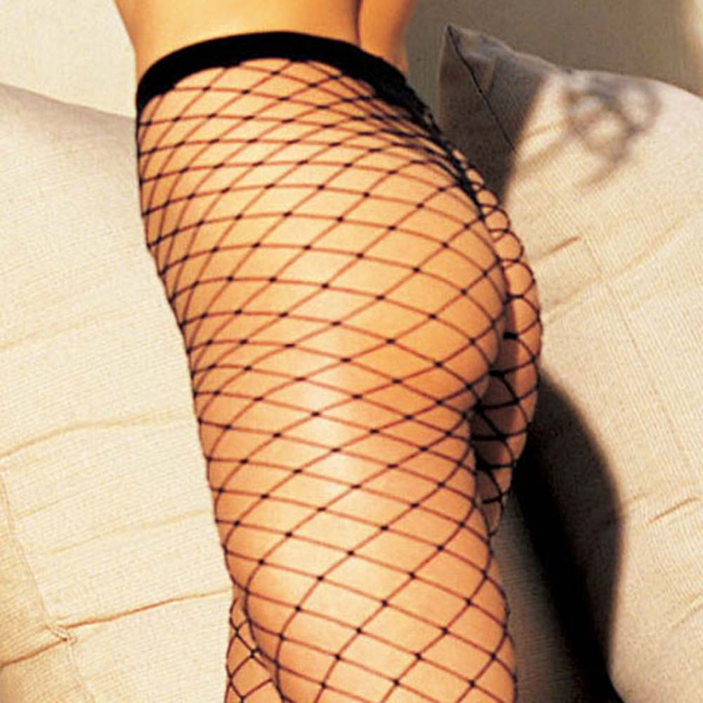 Stretch Big Hole Fishnet Pantyhose Black - View #3