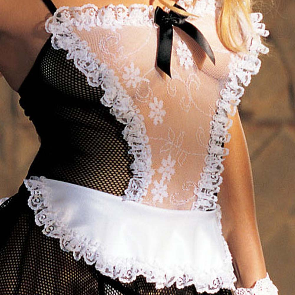 Stretch Lace and Fishnet 4 Pc. Maid Set - View #3