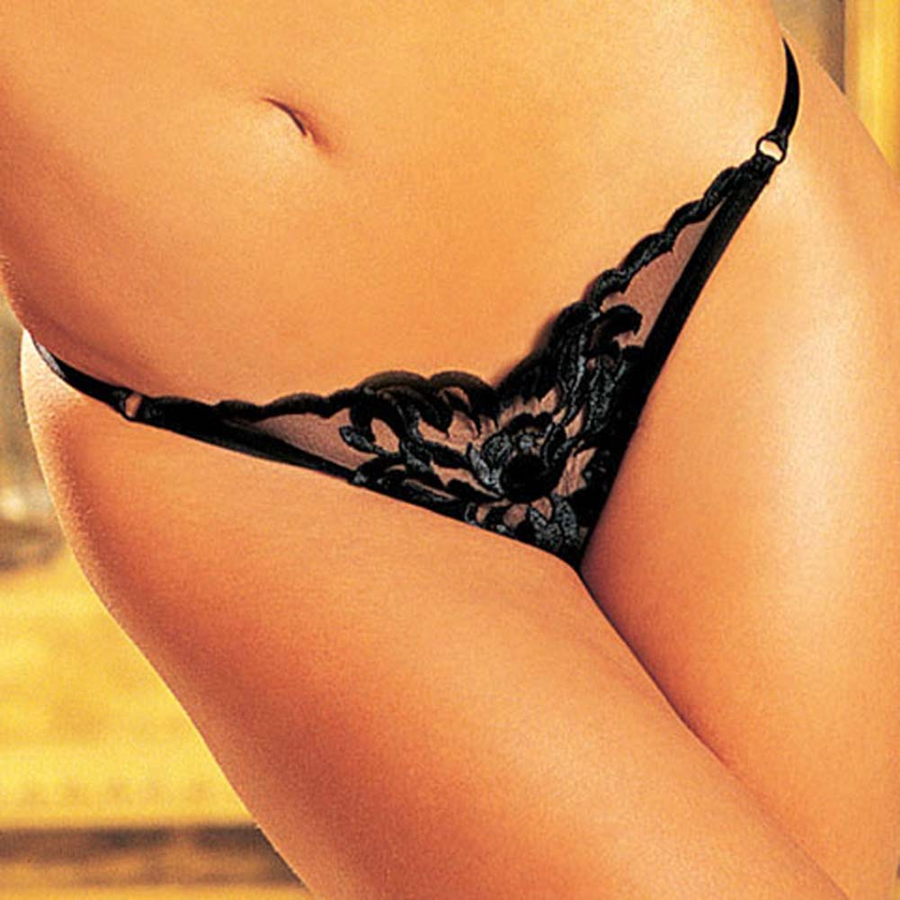 Large Flower Embroidered Thong Panty Black Size Medium - View #1
