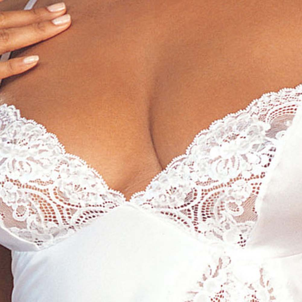 Charmeuse and Lace Babydoll with G-String White Size Medium - View #3