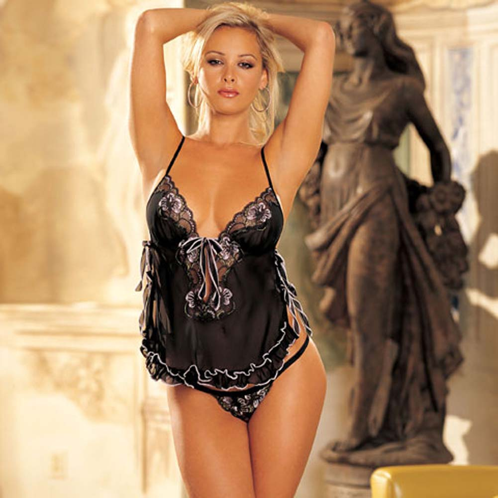 Flattering Chiffon Lace Babydoll with G-String Medium - View #2