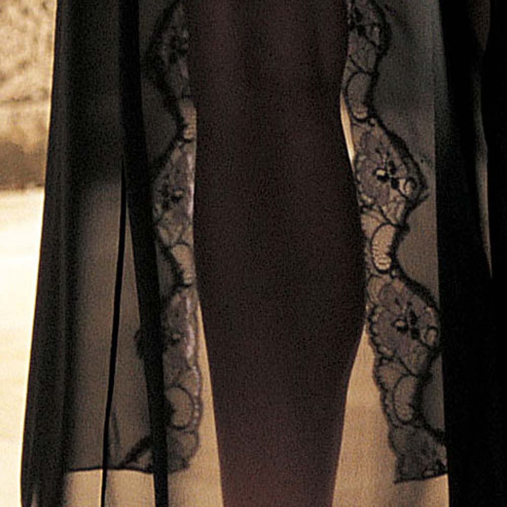 Shirley of Hollywood Tri Tone Lace Long Gown Medium Black - View #4