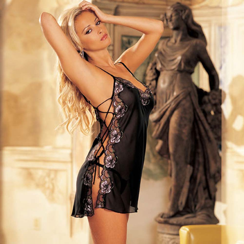 High Multi Chiffon Chemise with G-String Black Size X Large - View #2