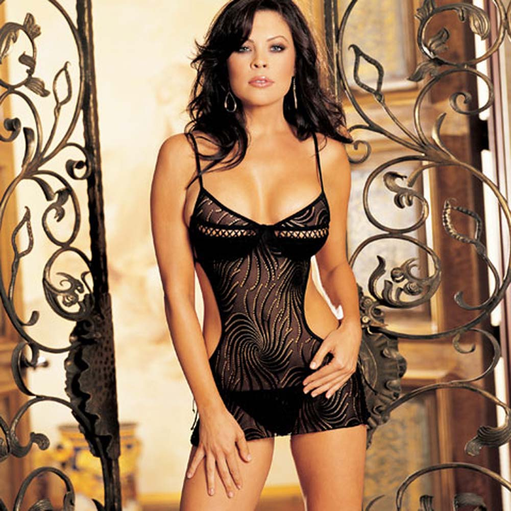 Swirl Stretch Mesh Chemise Black Size Large - View #1