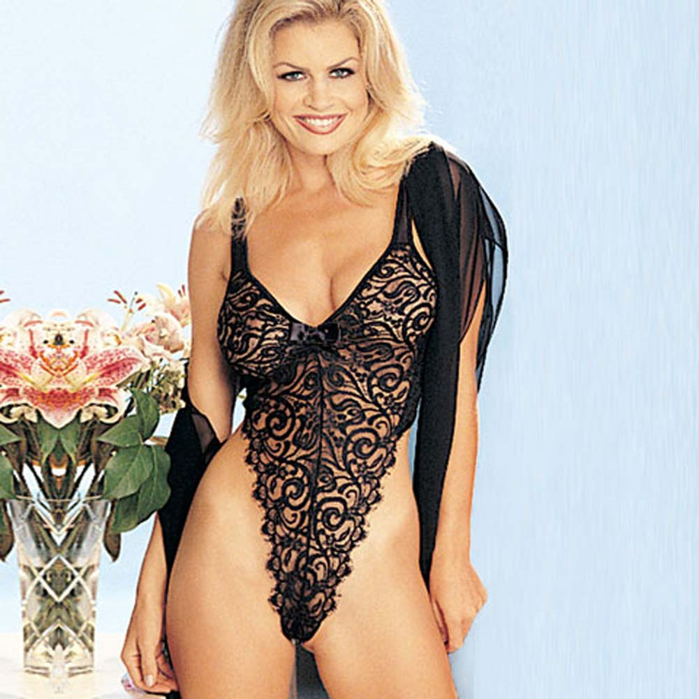 Eyelash Lace Thong Teddy Black Size Large - View #2