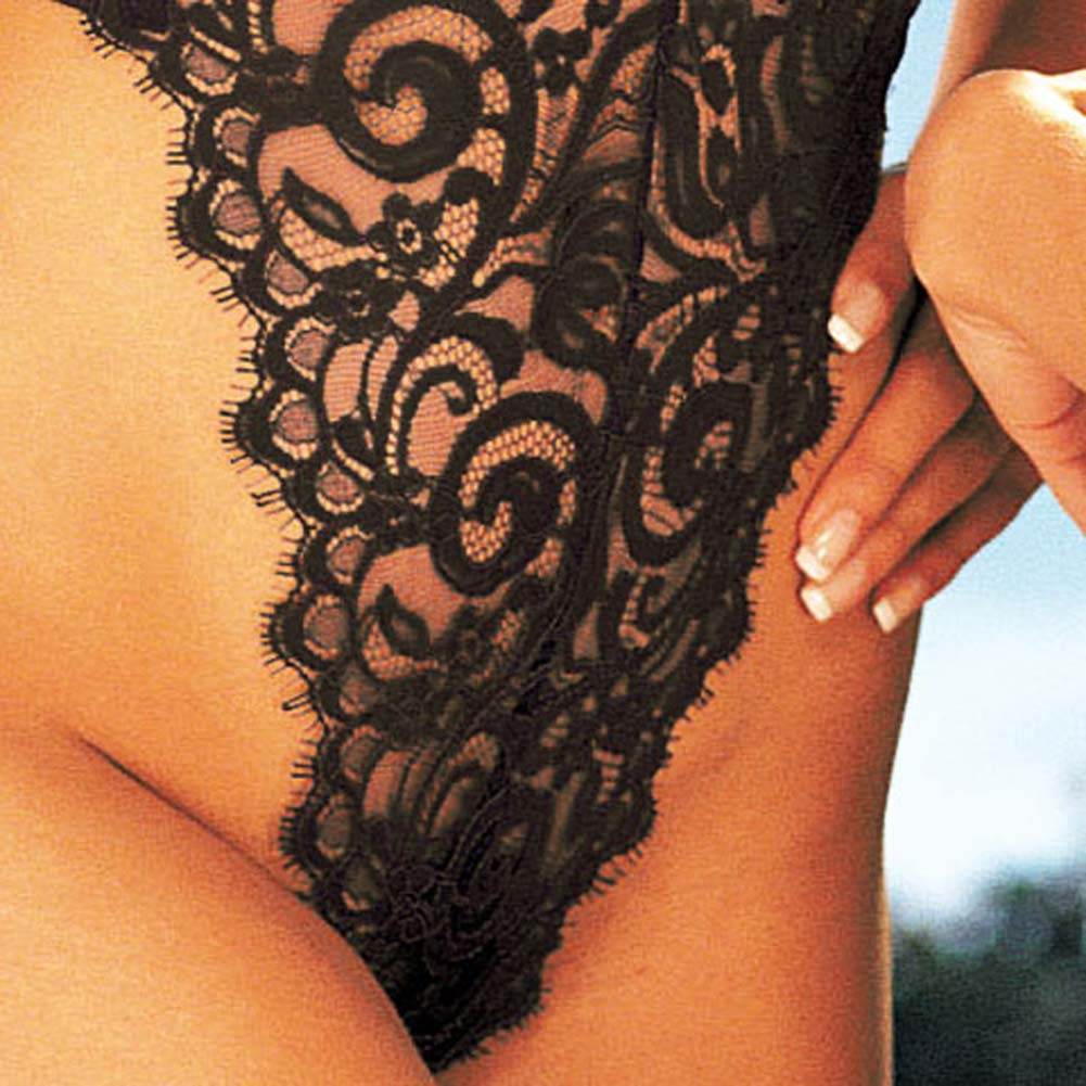 Eyelash Lace Thong Teddy Black Size Large - View #4