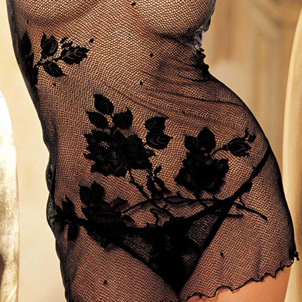 Enticing Floral Mesh Chemise and G-String Black - View #1