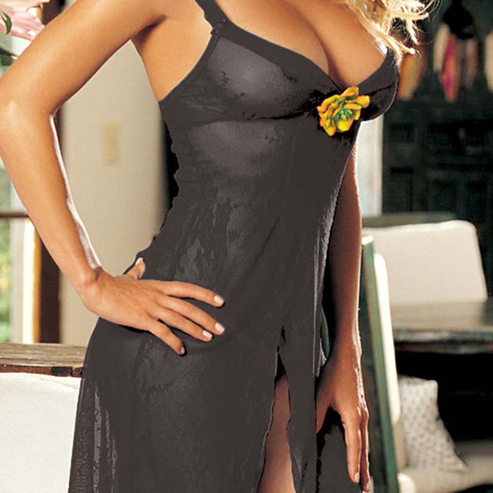 Floral Accent Stretch Lace Gown and G-String Black - View #1