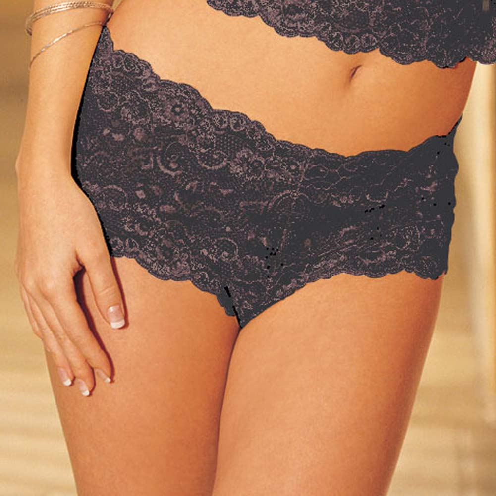 Elegant Floral Lace Camisole and Boy Short Black Sm/Med - View #4