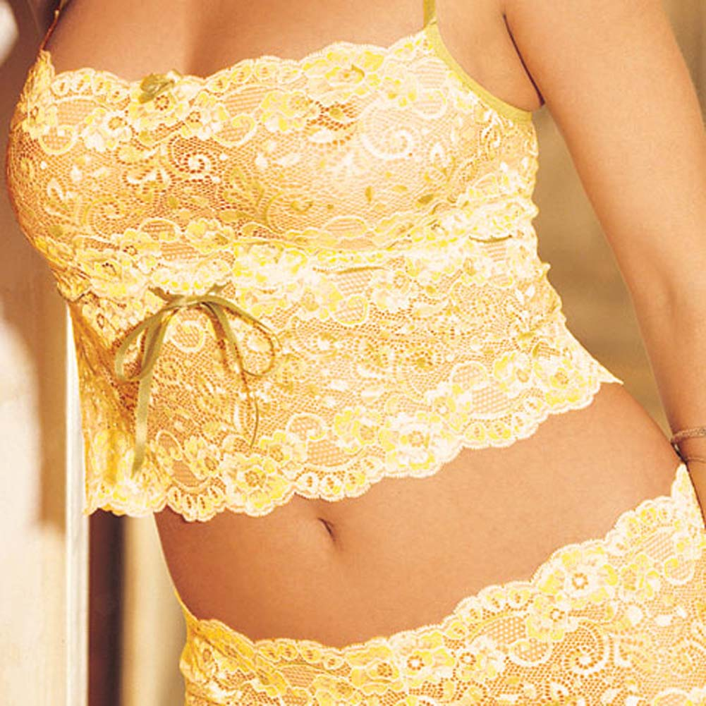 Elegant Floral Lace Camisole and Boy Short Set Yellow L/XL - View #1