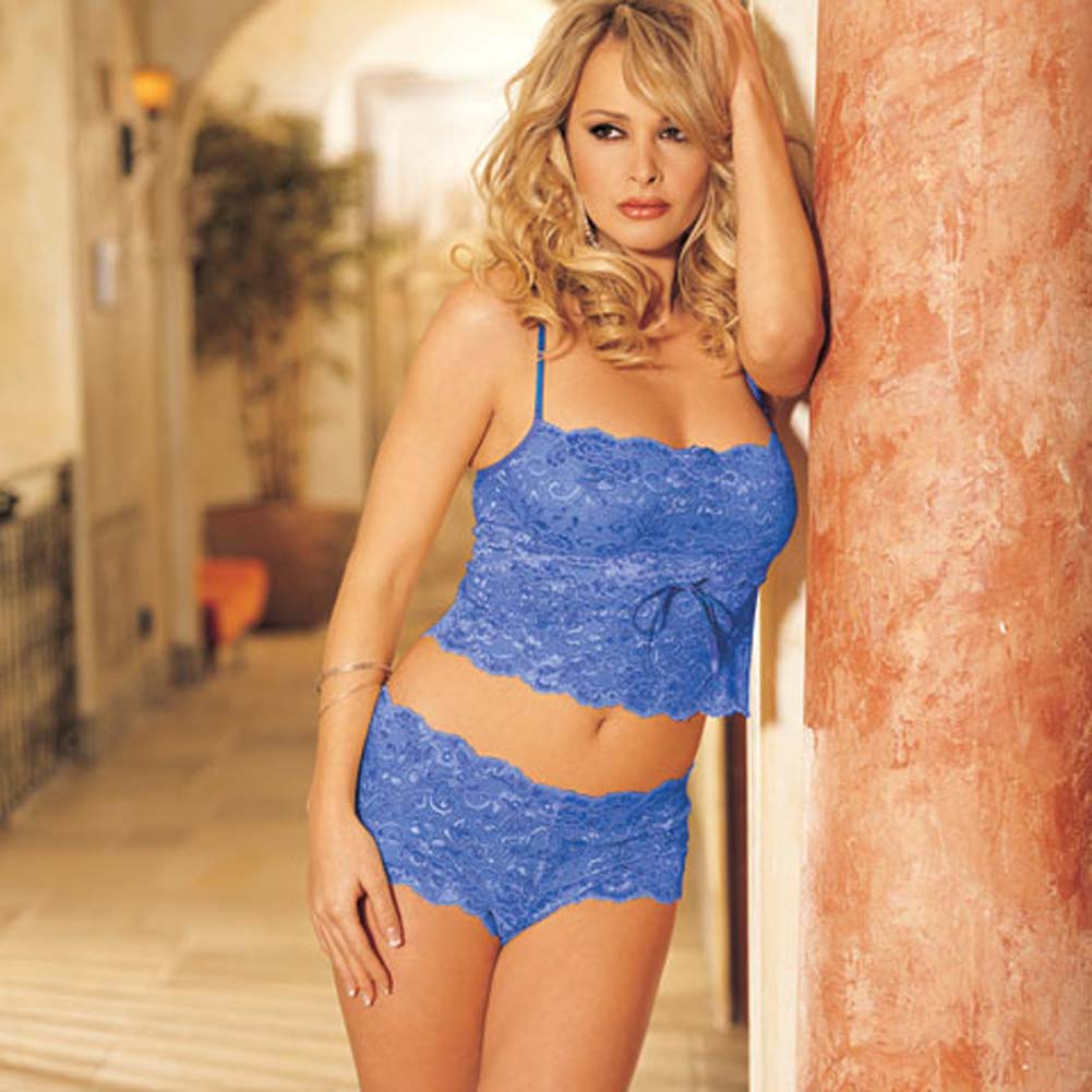 Elegant Floral Lace Camisole and Boy Short Set Royal L/XL - View #2