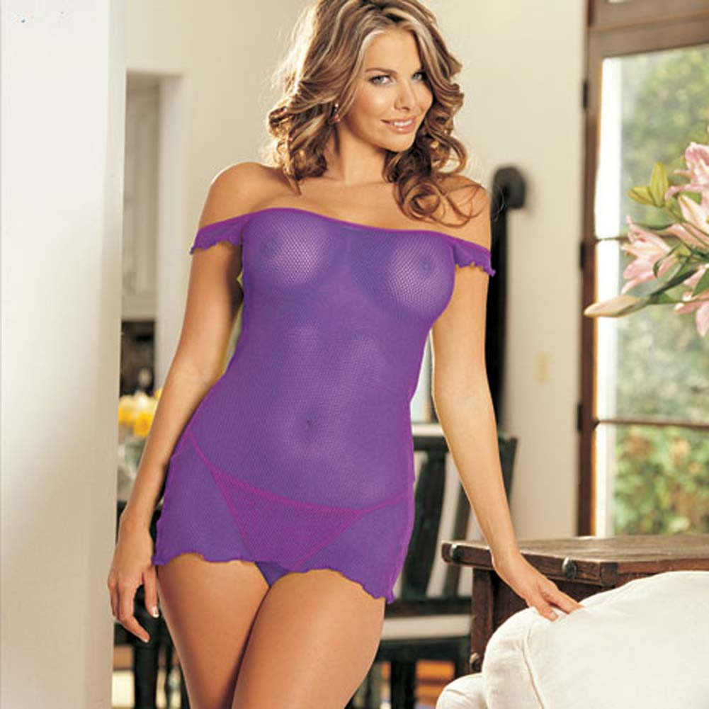 Come Closer Mesh Chemise and G-String Set Plum - View #2
