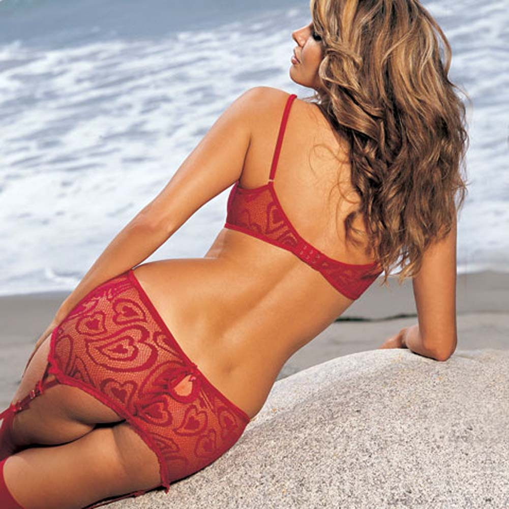 Alluring Heart Lace Bra Skirtini G-String 3 Pc Set Large Red - View #2