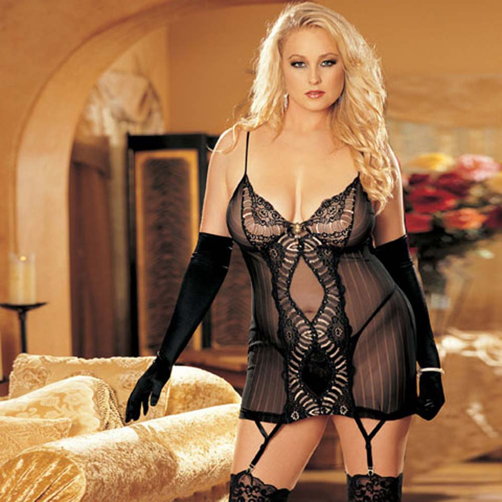 Striped Mesh and Lace Chemise with G-String Plus Size 2X - View #1