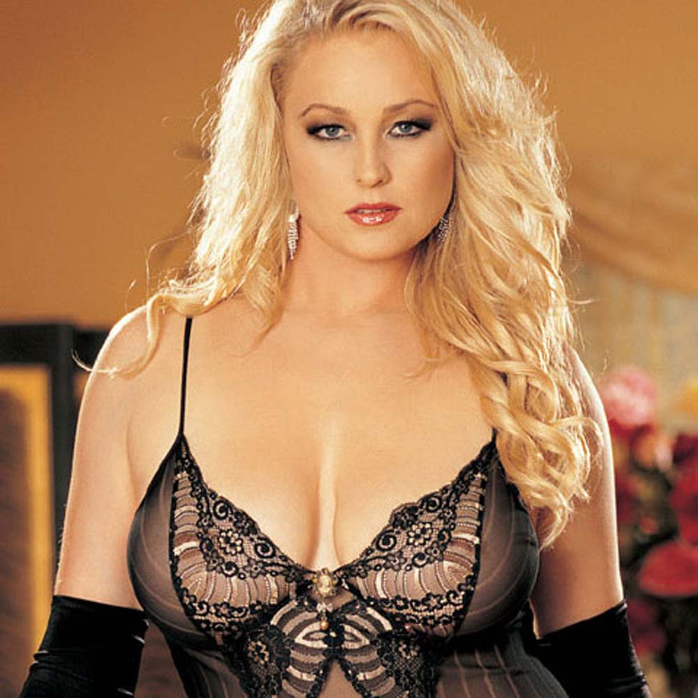 Striped Mesh and Lace Chemise with G-String Plus Size 2X - View #3