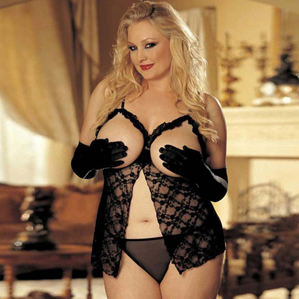 Open Bust Lace Babydoll and G-String Set Black Plus Size - View #1