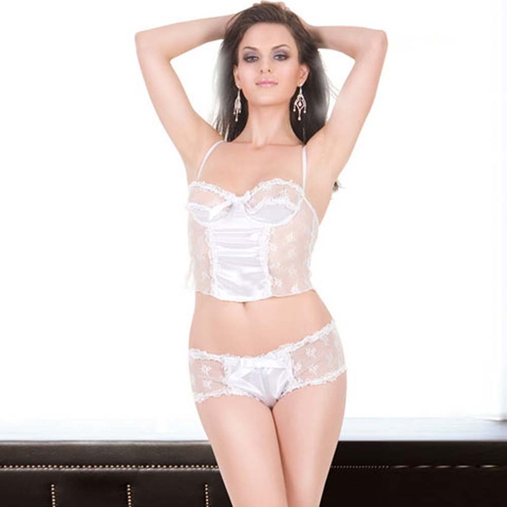 Satin and Sheer Camisole and Boyshort Set White Small - View #1