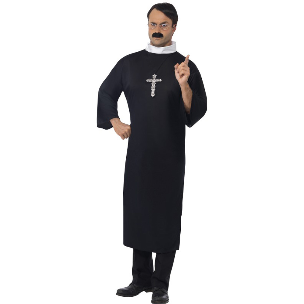 Smiffys Priest Costume with Long Robe and Collar Large Black - View #1