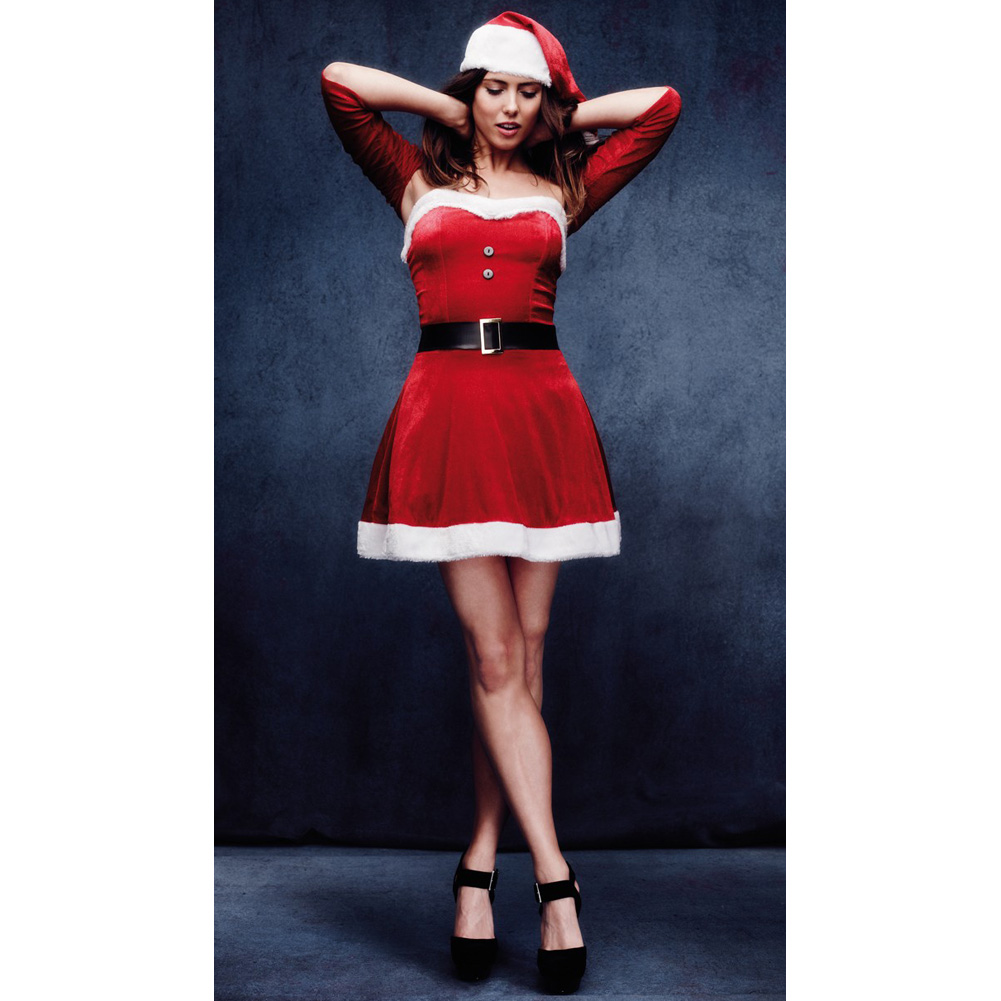 Fever Santa Babe Costume with Shrug Belt and Hat Red Medium - View #3