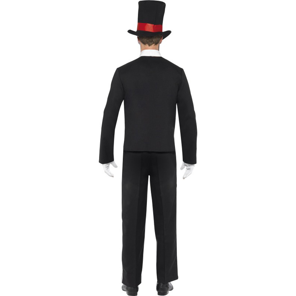 Smiffys Day of the Dead Costume for Men with Hat and Gloves Black/Red Medium - View #2
