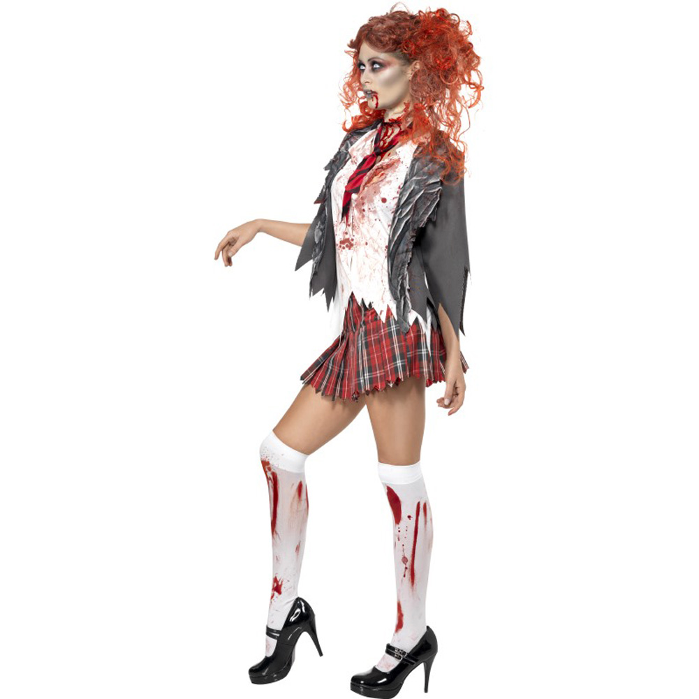 Smiffys High School Horror Zombie Schoolgirl Costume Gray/Red/White Large - View #2