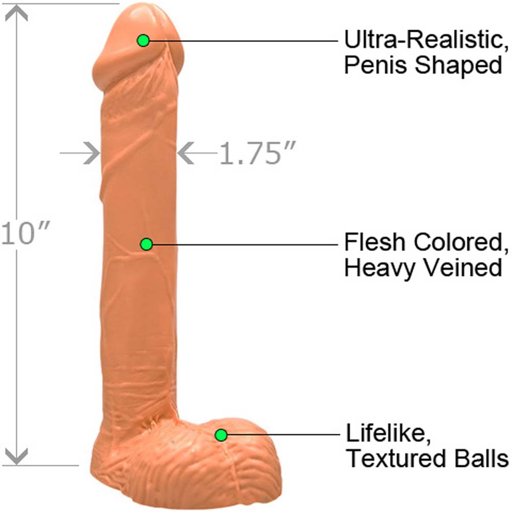 "Large 9"" Realistic Erect Cock and Balls Natural Flesh - View #1"