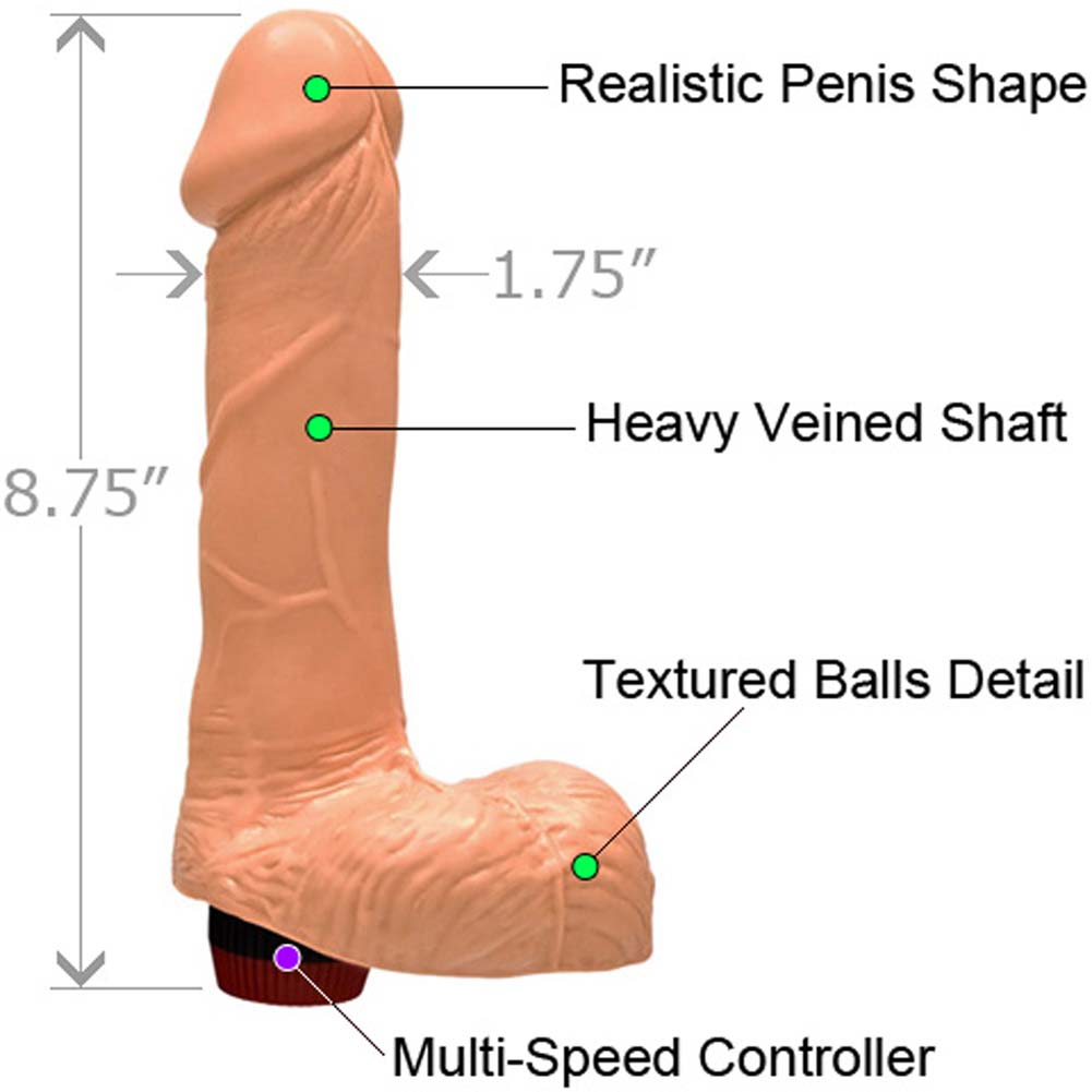 "Straight Realistic Vibrating Cock with Balls 7"" Natural Flesh - View #1"
