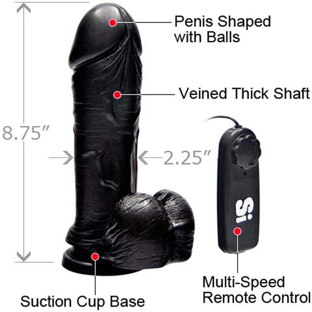 "Thick Realistic Cock with Suction and Vibration 8"" Black - View #1"