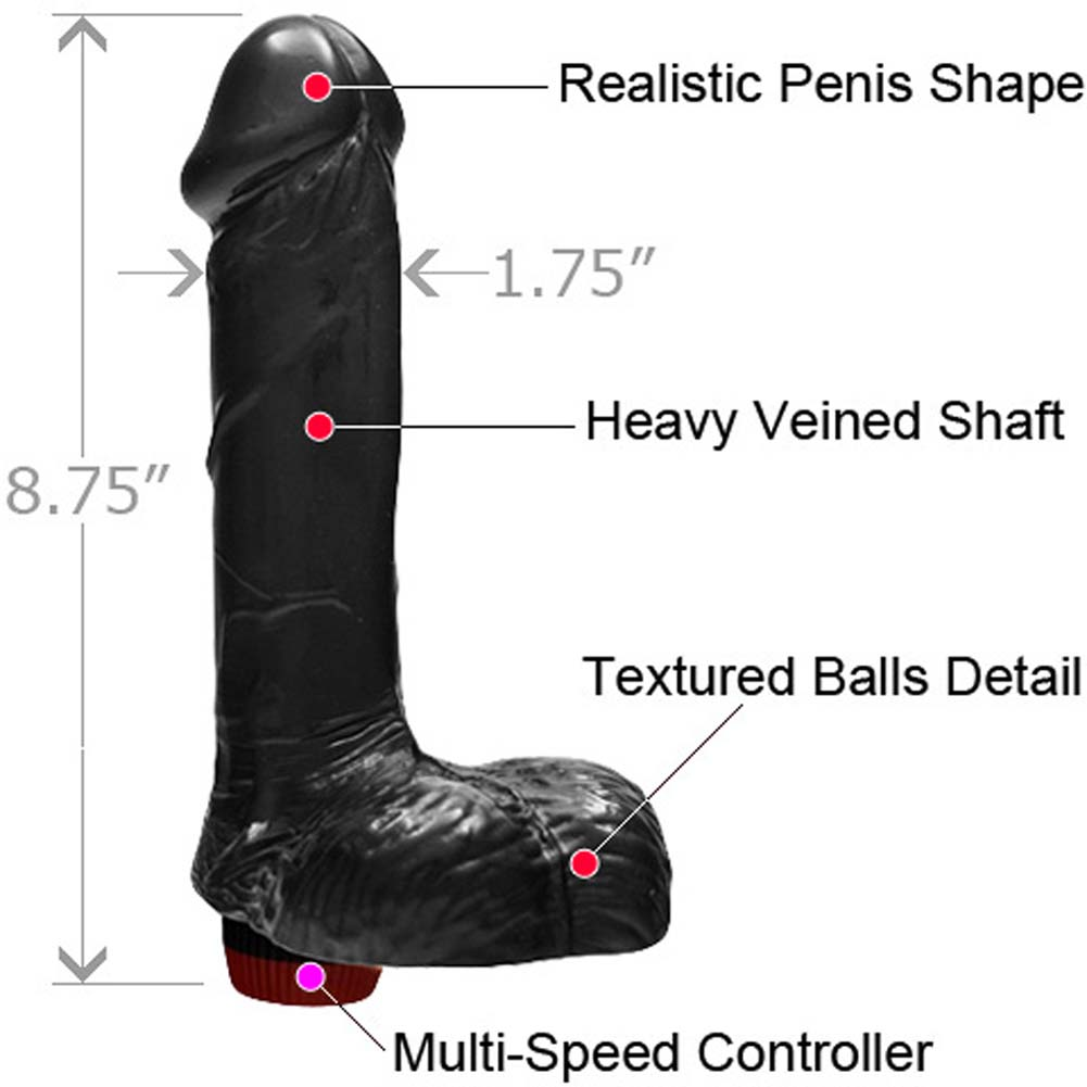 "Straight Realistic Vibrating Cock with Balls 7"" Black - View #1"
