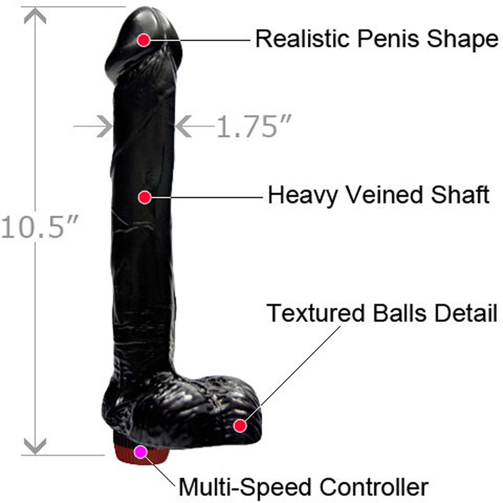 "Ignite Straight Realistic Vibrating Cock with Balls 9"" Black - View #1"