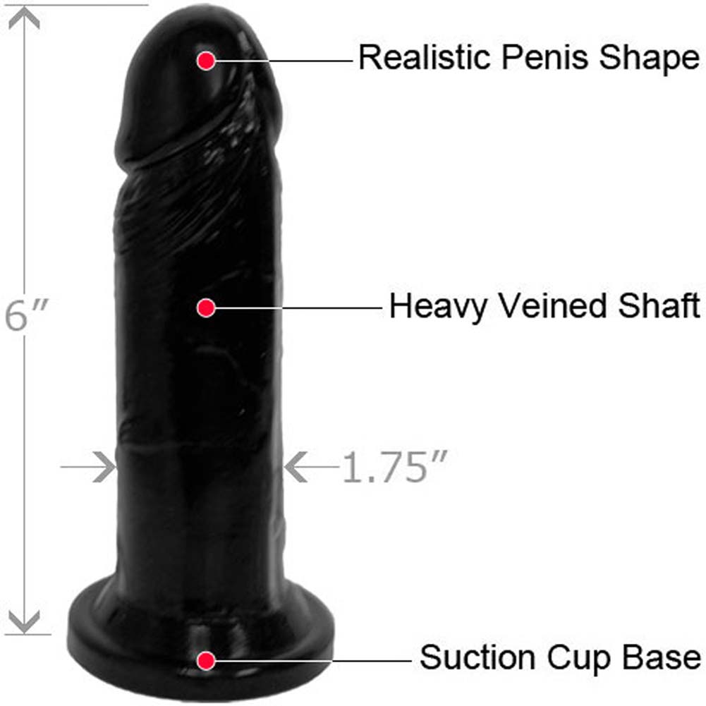 "Straight Realistic Cock with Suction Base 6"" Kinky Black - View #1"