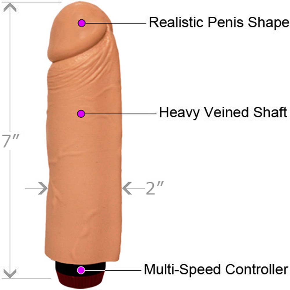 "Straight Realistic Vibrating Cock 7"" Natural Flesh - View #1"