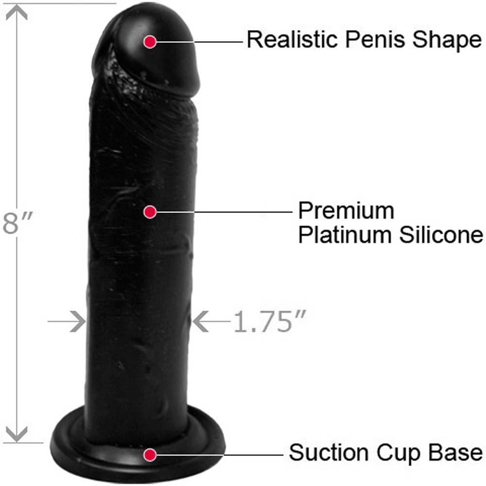 "Straight Realistic Silicone Dong with Suction Base 8"" Black - View #1"