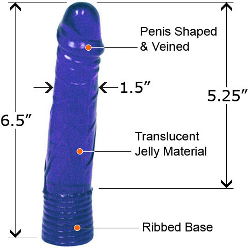 "Straight Jelly Dong with Senso Ring 6.5"" Blue - View #2"