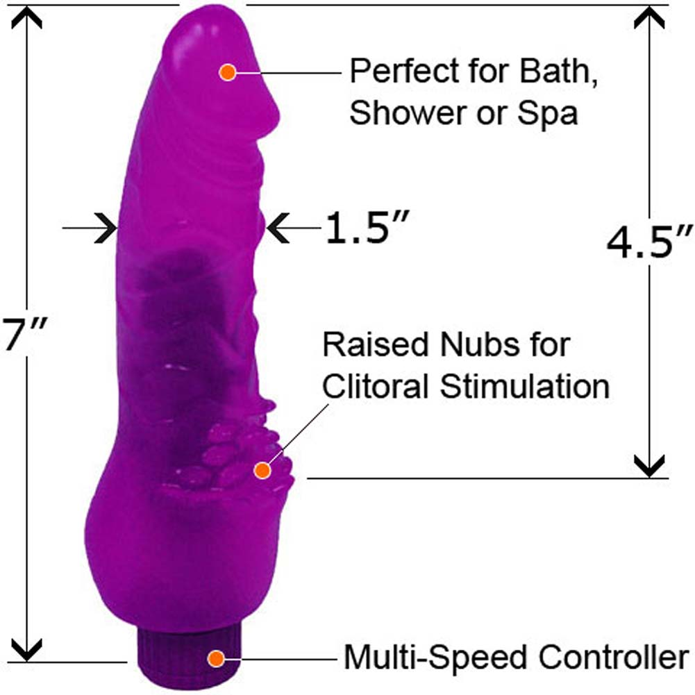 "Invader Waterproof Vibe with Pleasure Bumps 7"" Purple - View #1"