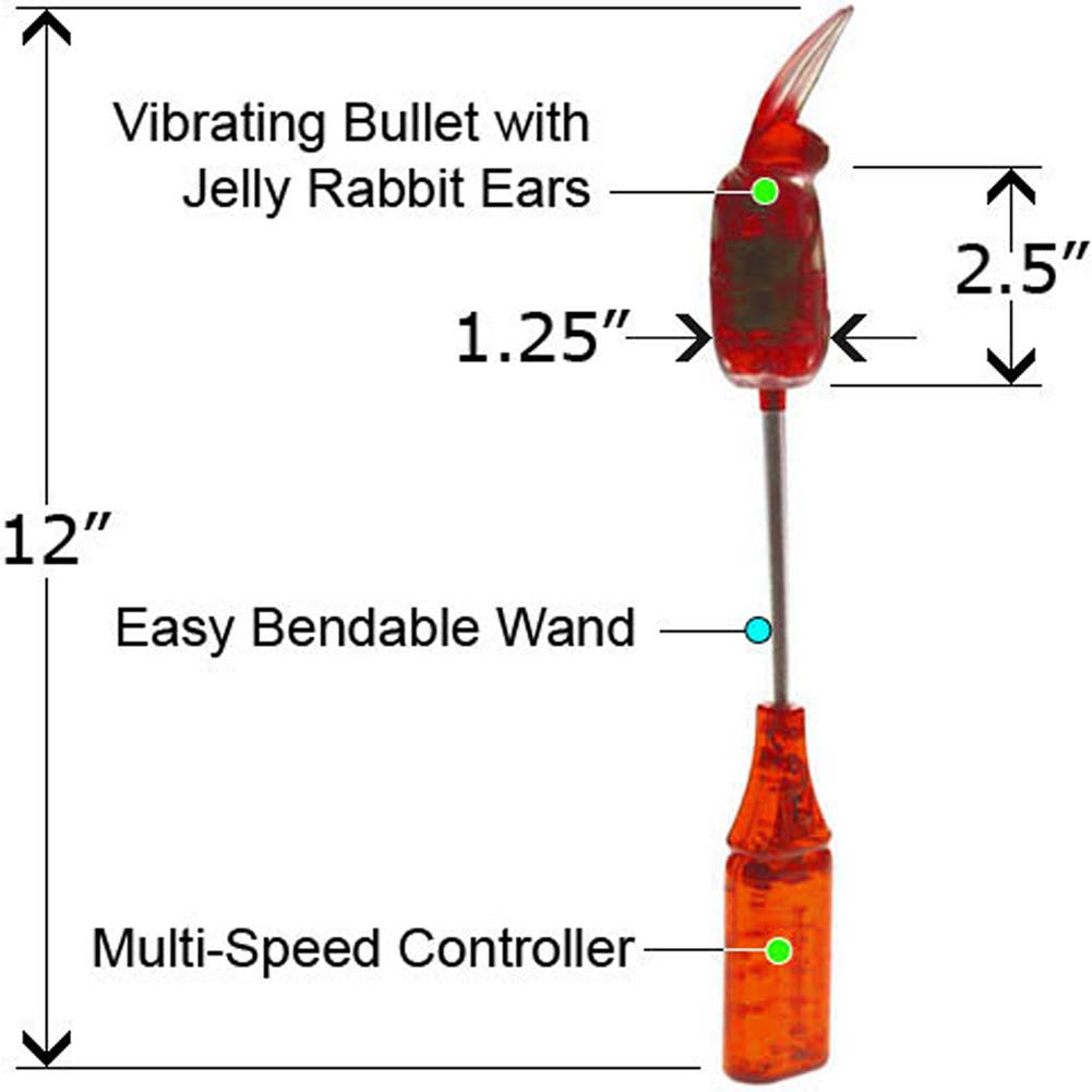 "Vibrating Rabbit Wiggle Jelly Wand 12"" Red - View #2"