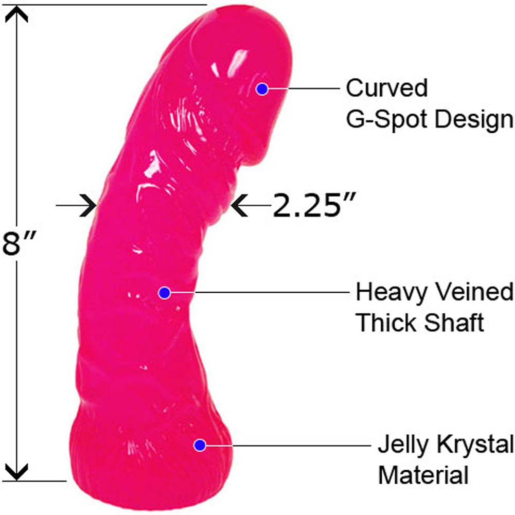"Oversized Curved Textured Jelly Dildo 8"" Naughty Pink - View #1"