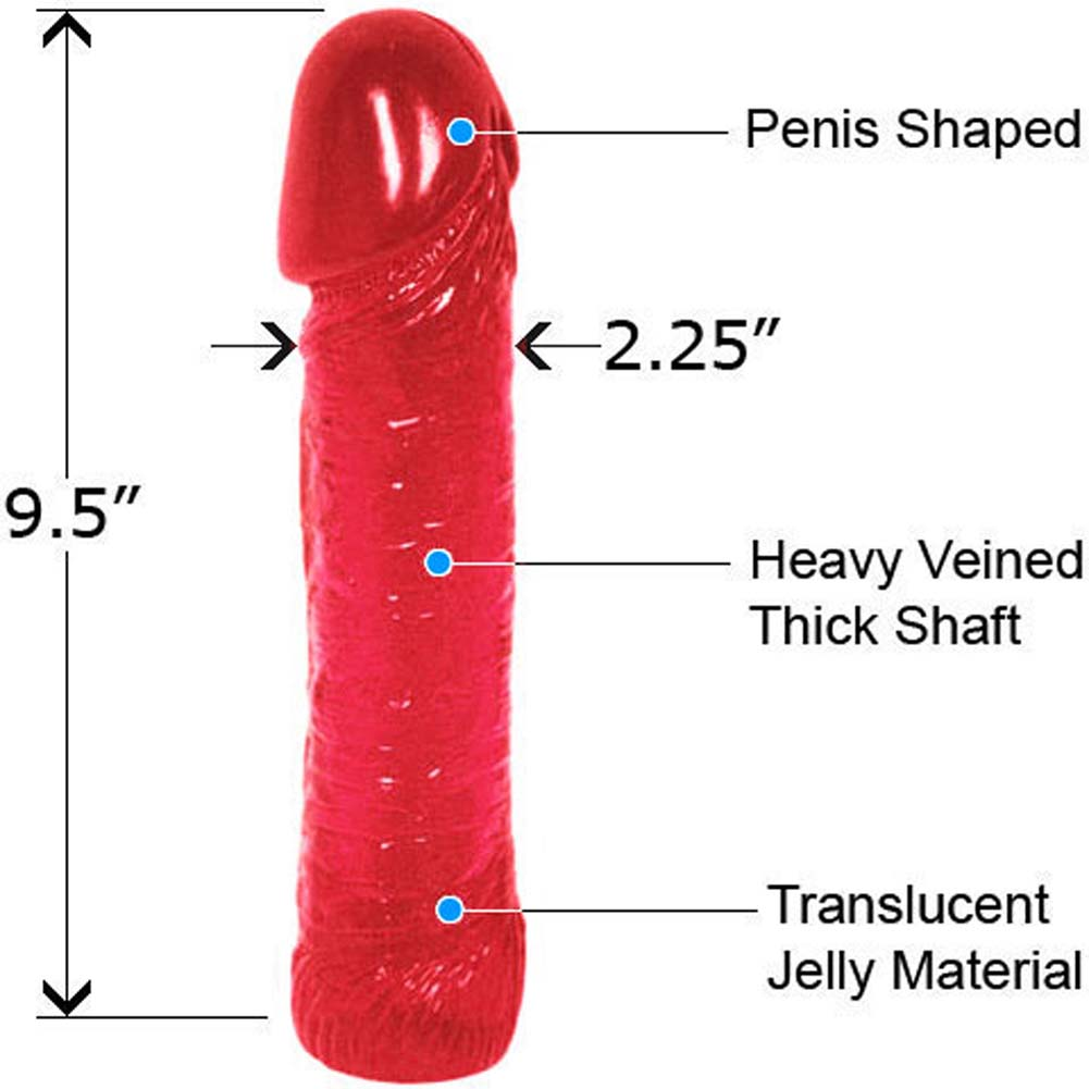 """Life Like Oversized Thick Jelly Cock Dong 9"""" Erotic Red - View #1"""