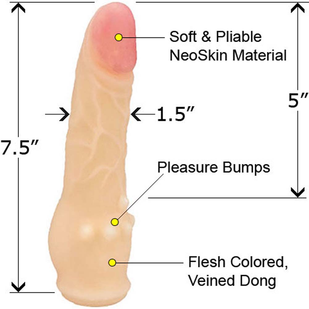 "Clitterific NeoSkin Dong with Clitoral Bumps 7.5"" Cream - View #2"
