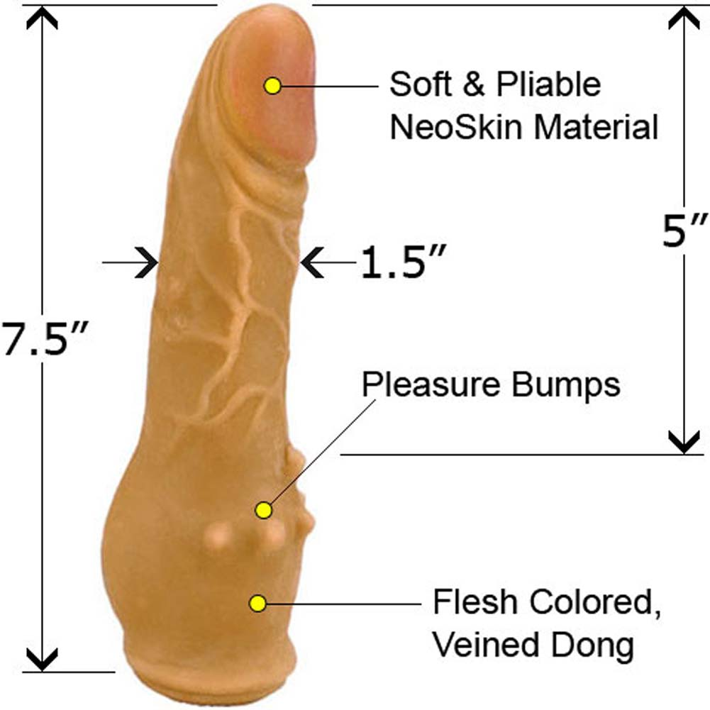"Clitterific NeoSkin Dong with Clitoral Bumps 7.5"" Mulato - View #1"