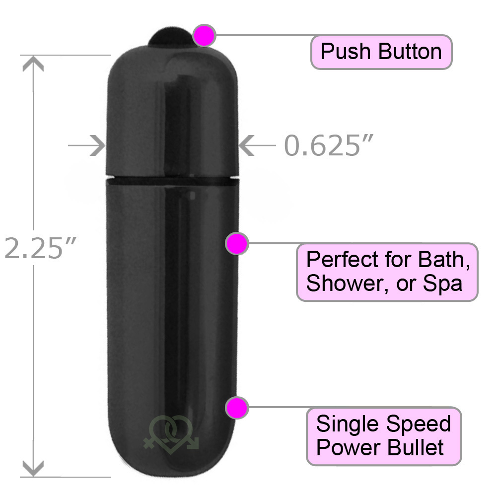 "OptiSex Ultra Powerful Waterproof Love Bullet Vibrator 2.25"" Fetish Black - View #1"