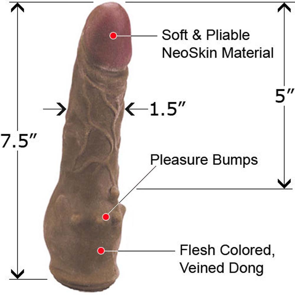 "Clitterific NeoSkin Dong with Clitoral Bumps 7.5"" Mocha - View #1"