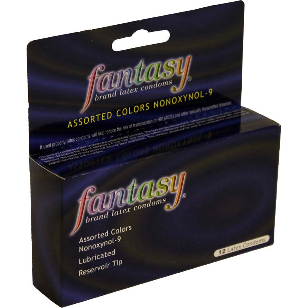 Fantasy Assorted Colors Nonoxynol 9 Latex Condoms 12 Pack - View #1