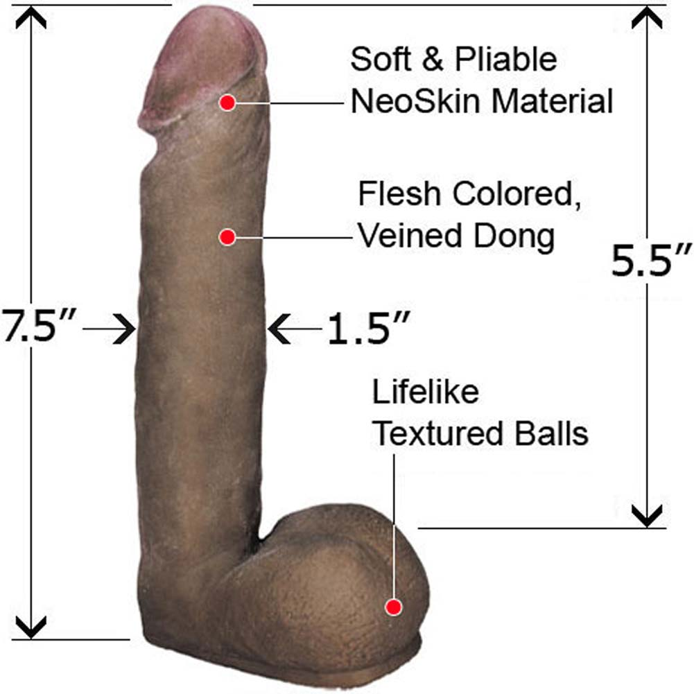 "Straight NeoSkin Dong with Balls 7.5"" Mocha - View #1"