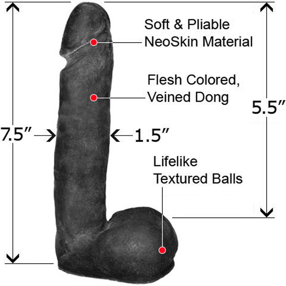 "Straight NeoSkin Dong with Balls 7.5"" Ebony - View #1"